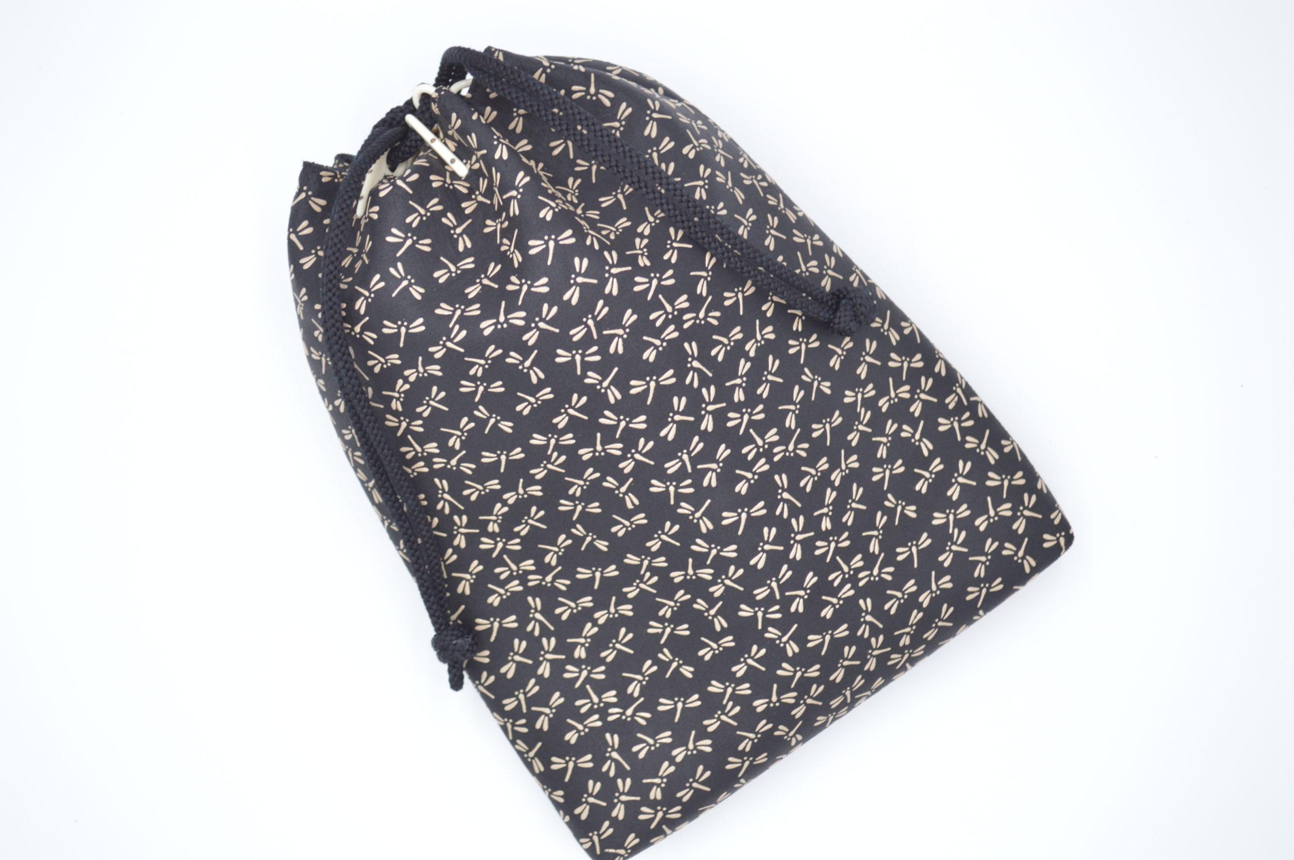合財袋 黒/白 トンボ柄
