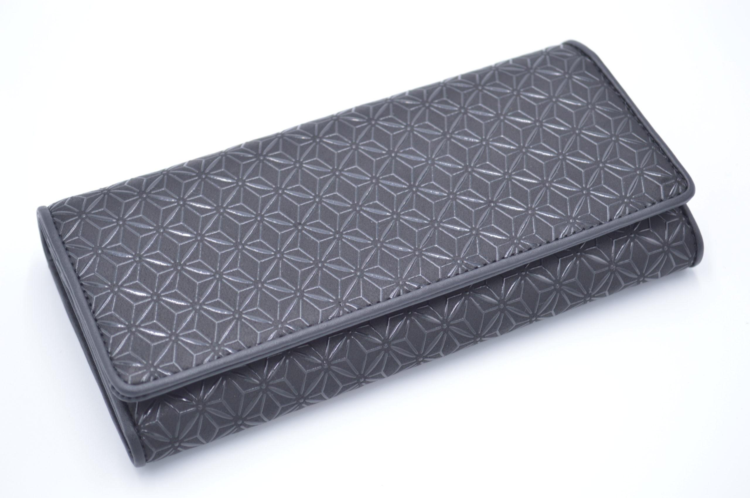 長財布B 黒/黒 麻の葉柄