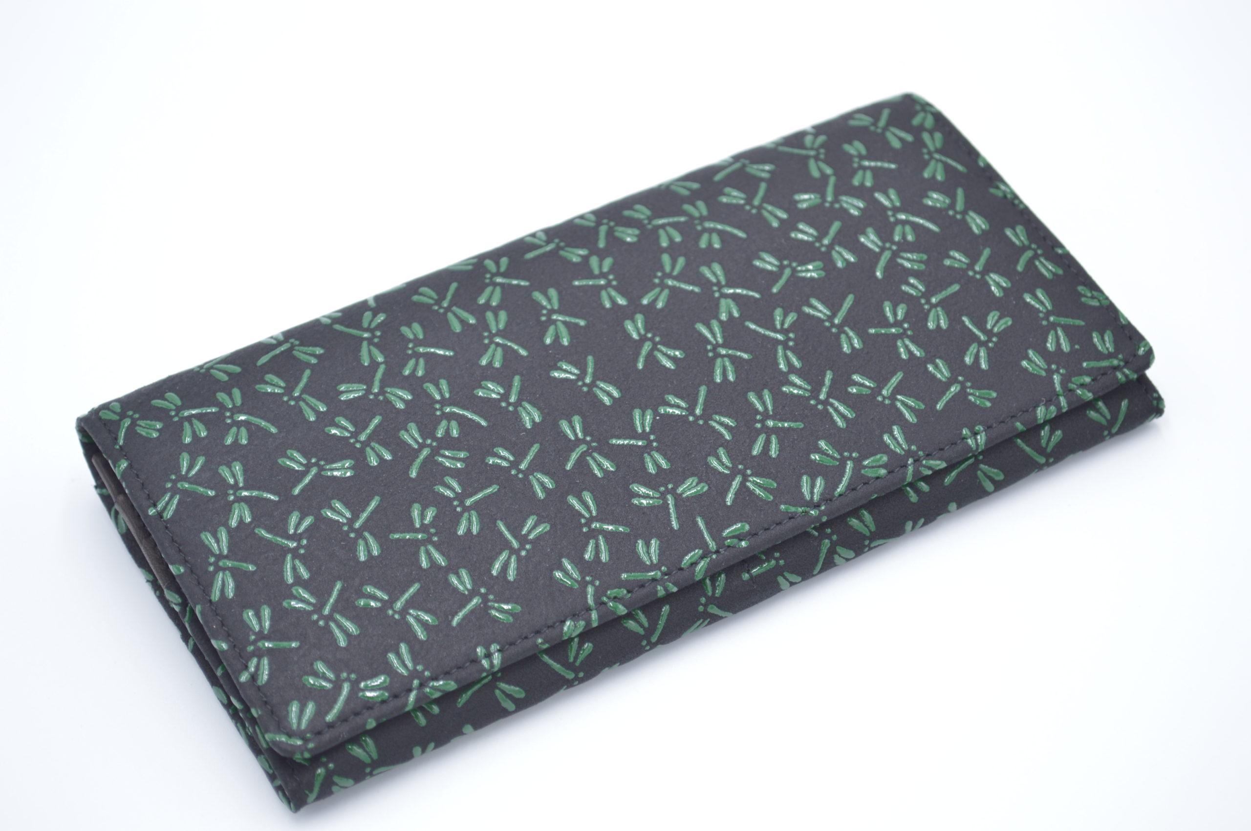 長財布E 黒/緑 トンボ柄