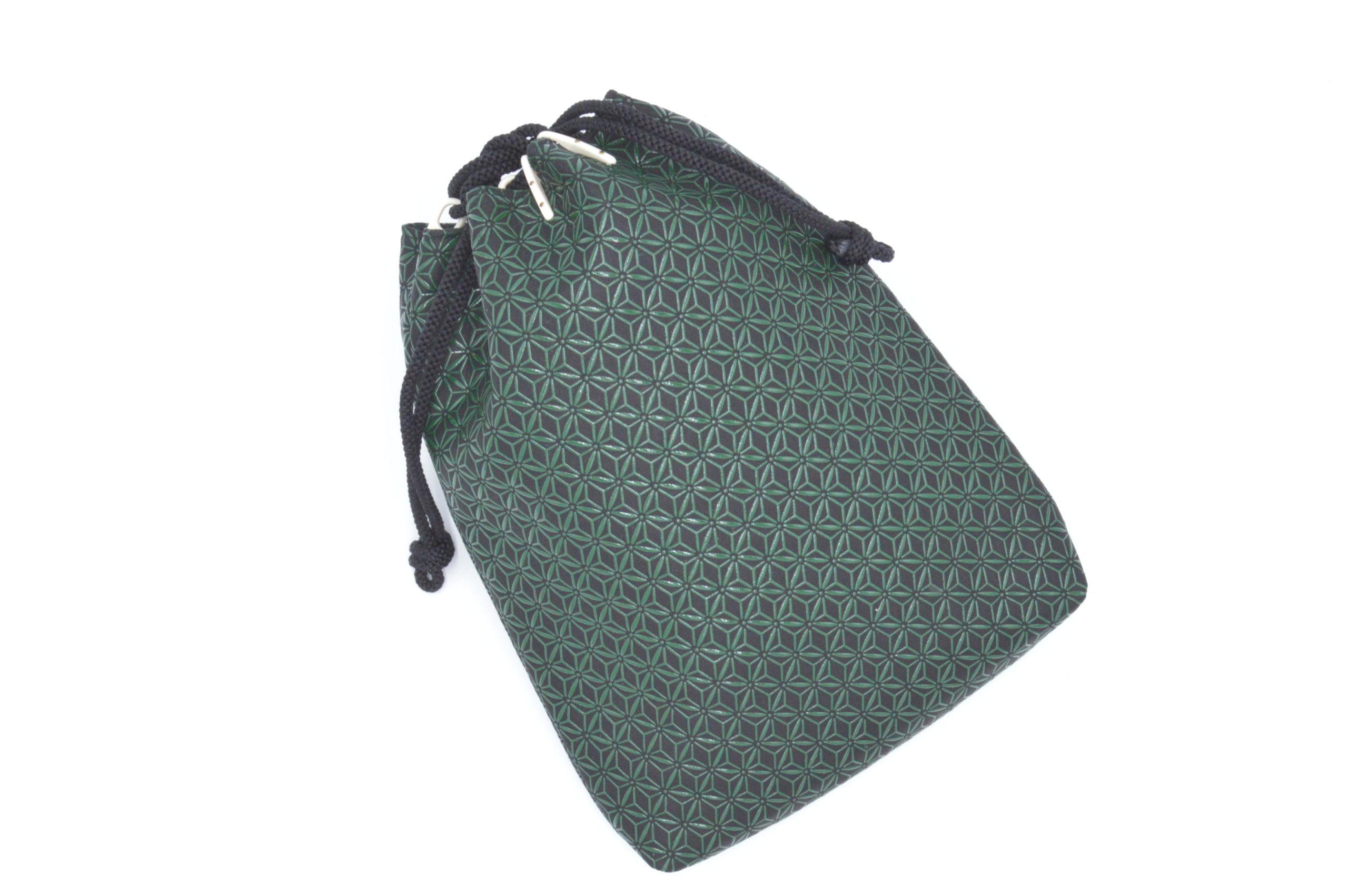 合財袋 黒/緑 麻の葉柄