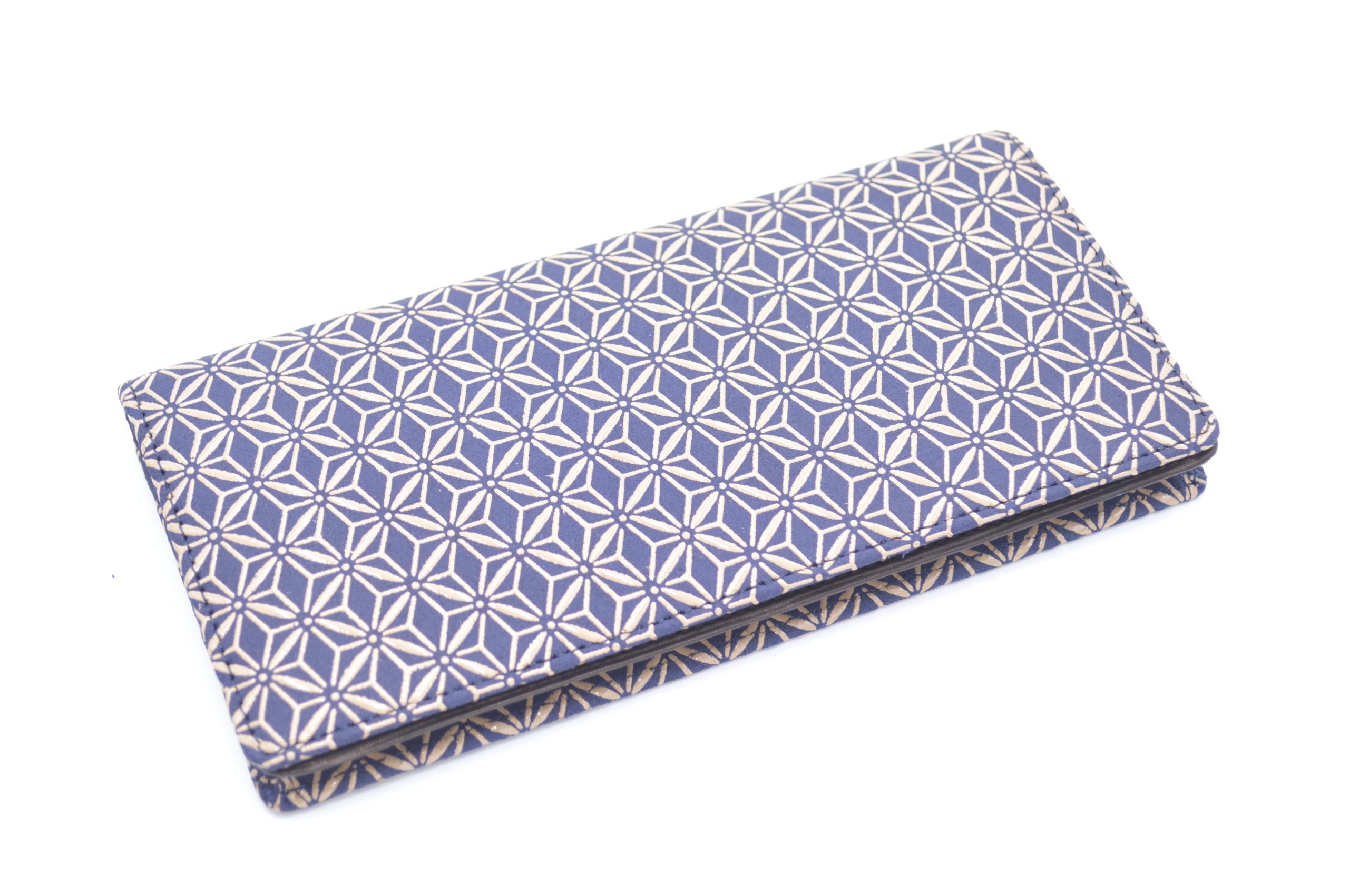 長財布F 紺/白 麻の葉柄