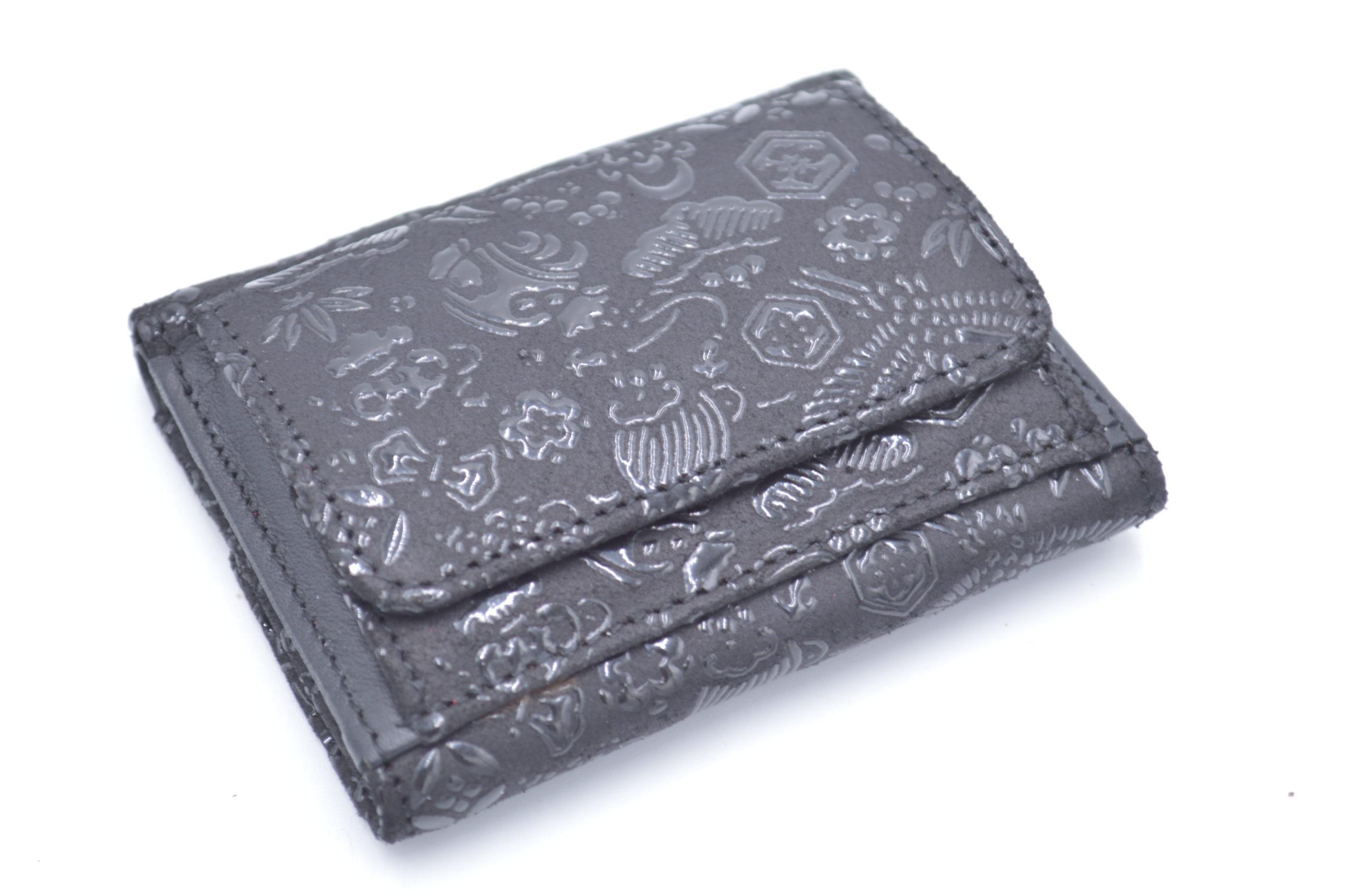 ミニ財布A 黒/黒 宝尽くし柄