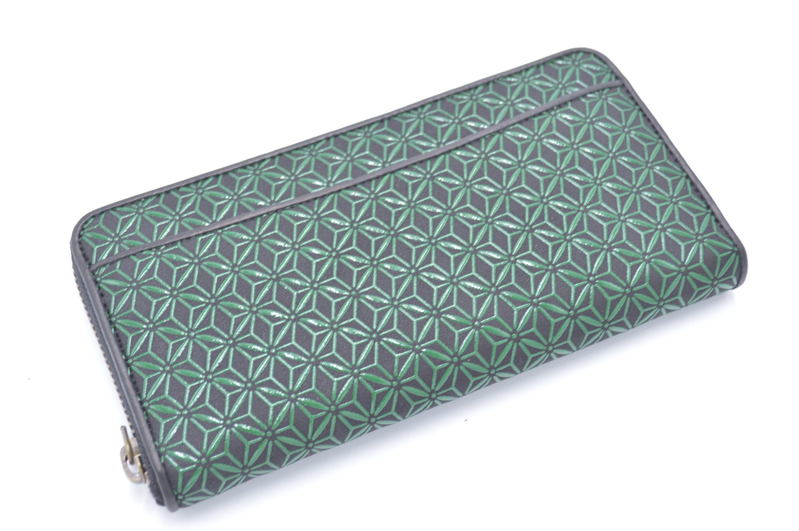 長財布D 黒/緑 麻の葉柄