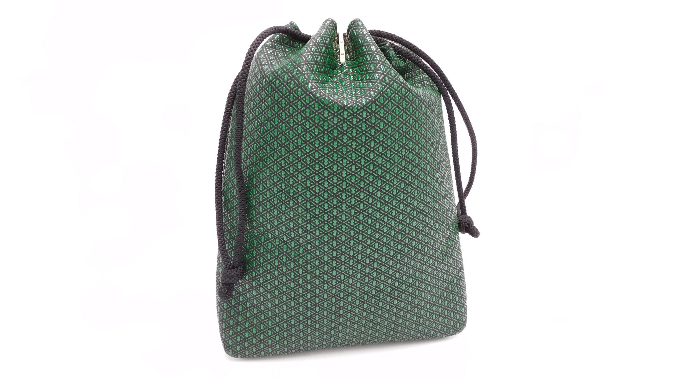 合財袋 黒/緑 瓢箪柄
