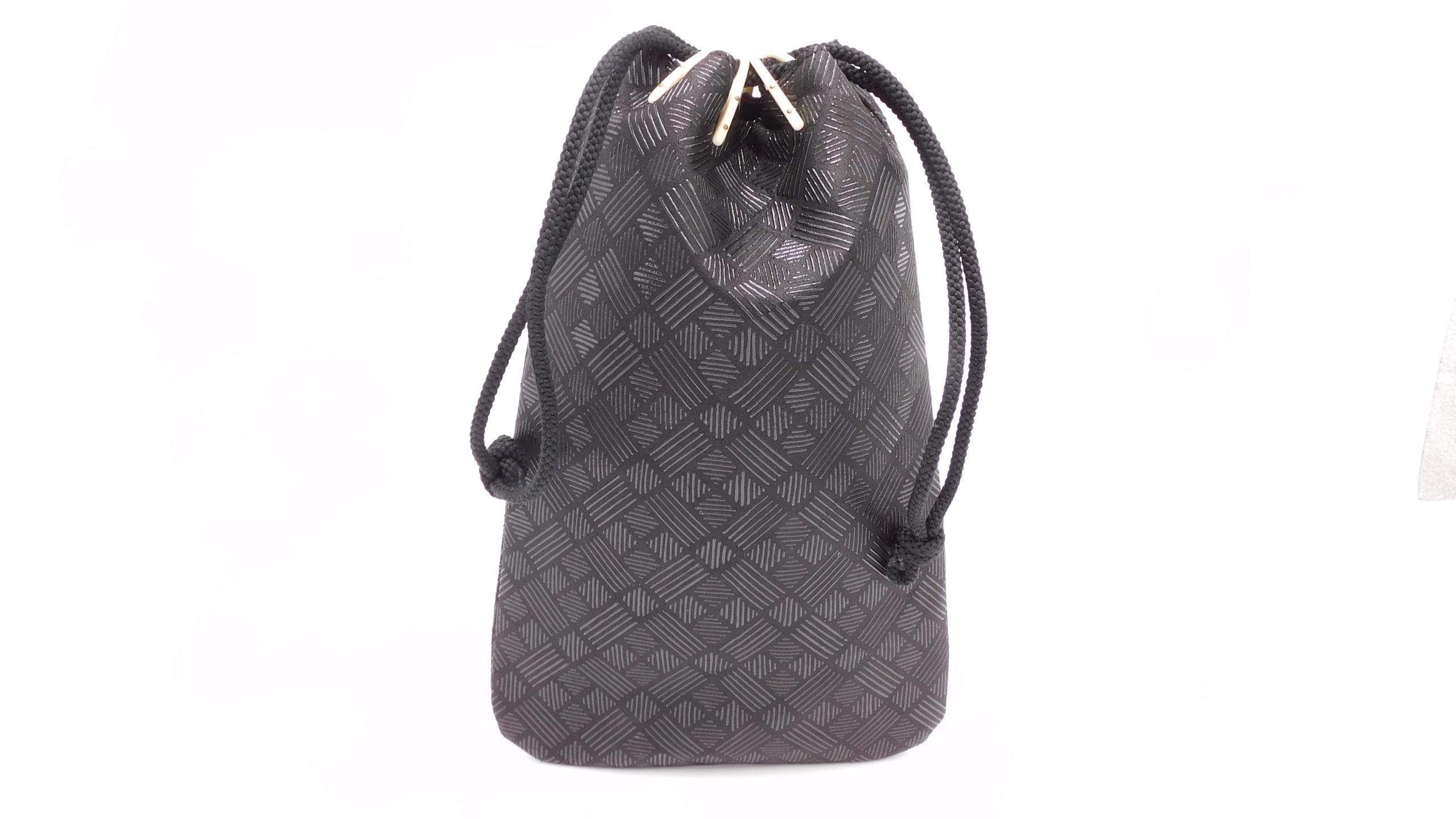 合財袋(小)黒/黒 格子柄